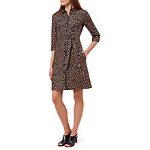 Buy Hobbs Milla Linen Shirt Dress, Navy/Sand Online at johnlewis.com