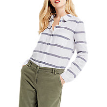 Buy Oasis Casual Cotton Stripe Shirt, Multi/Neutral Online at johnlewis.com