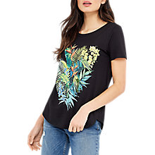 Buy Oasis Embellished Parrot T-Shirt, Black Online at johnlewis.com
