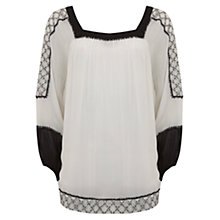 Buy Mint Velvet Embroidered Sleeve Blouse, Ivory Online at johnlewis.com
