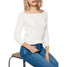 Buy Mint Velvet Ribbed Square Neck Knit Jumper, Ivory Online at johnlewis.com