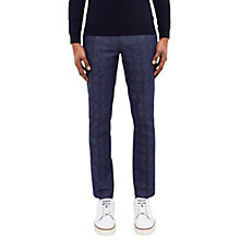 Buy Ted Baker Rectro Checked Linen-Cotton Blend Trousers, Bright Blue Online at johnlewis.com