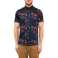 Buy Ted Baker Flamingo Shirt, Navy Online at johnlewis.com