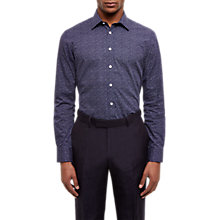 Buy Jaeger Printed Cotton Regular Fit Shirt, Navy Online at johnlewis.com