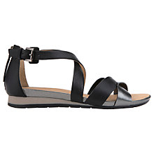 Buy Geox Formosa Cross Strap Sandals, Black/Gunmetal Online at johnlewis.com