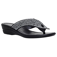 Buy Carvela Comfort Sunny Embellished Wedge Heel Sandals, Black Online at johnlewis.com