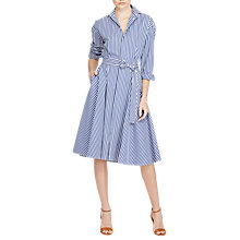 Buy Polo Ralph Lauren Striped Cotton Shirt Dress, Blue Online at johnlewis.com