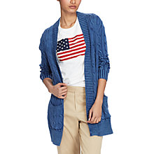 Buy Polo Ralph Lauren Cable Knit Open Front Cardigan, Indigo Online at johnlewis.com