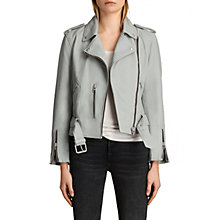 Buy AllSaints Leather Balfern Biker Jacket, Skye Blue Online at johnlewis.com