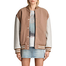 Buy AllSaints Base Bomber Jacket, Smoke Orange/Oyster Online at johnlewis.com
