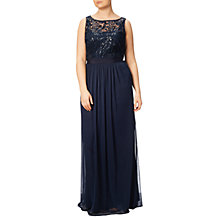 Buy Adrianna Papell Plus Size Sequin Mesh Stretch Tulle Gown, Midnight Online at johnlewis.com