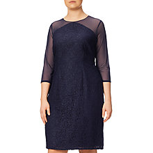 Buy Adrianna Papell Plus Size Mesh And Lace Shift Dress, Navy Online at johnlewis.com