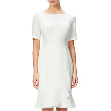 Buy Adrianna Papell Crepe Sheath Dress With Flounce Wrap Detail, Ivory Online at johnlewis.com