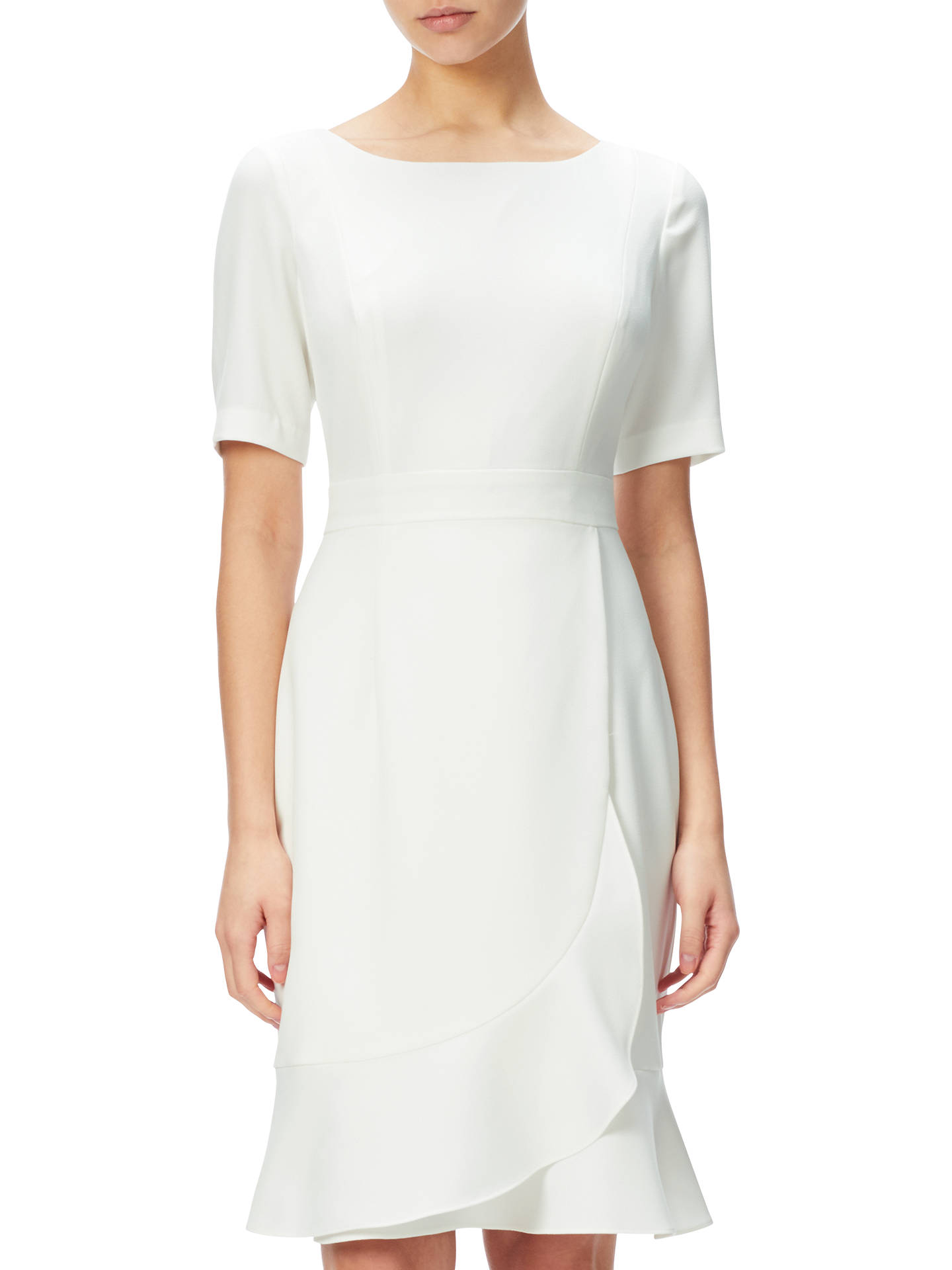 9b3f27da Buy Adrianna Papell Crepe Sheath Dress With Flounce Wrap Detail, Ivory, 8  Online at ...
