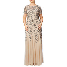 Buy Adrianna Papell Plus Size Floral Beaded Godet Gown, Taupe/Pink Online at johnlewis.com