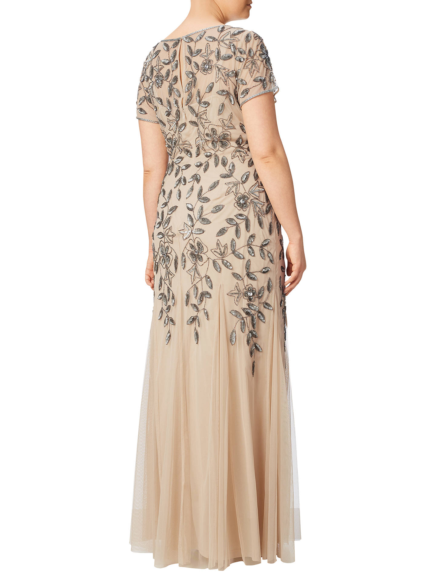 cae089f619a7 ... Buy Adrianna Papell Plus Size Floral Beaded Godet Gown, Taupe/Pink, 18  Online ...