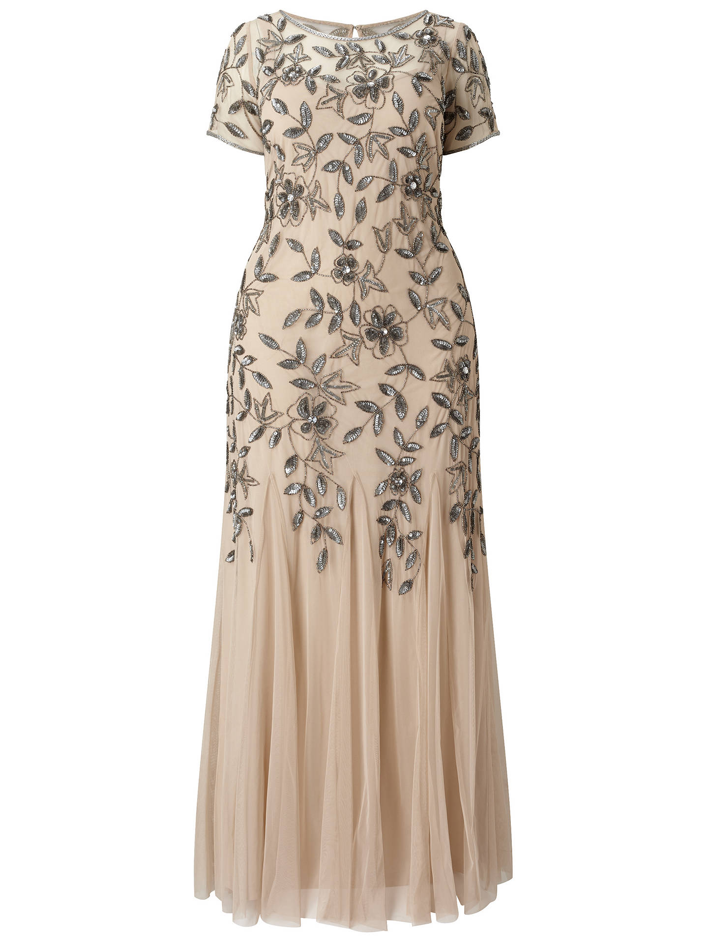 Adrianna Papell Plus Size Floral Beaded Godet Gown, Taupe