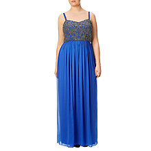 Buy Adrianna Papell Plus Size Beaded Bodice Sleeveless Gown, Royal Multi Online at johnlewis.com
