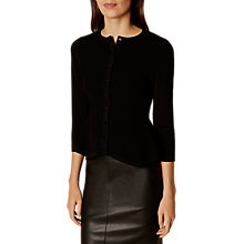 Buy Karen Millen Peplum Cardigan, Black Online at johnlewis.com