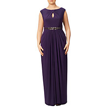Buy Adrianna Papell Plus Size Keyhole Detail Embellished Jersey Gown, Aubergine Online at johnlewis.com