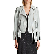 Buy AllSaints Leather Balfern Biker Jacket, Luna Blue Online at johnlewis.com