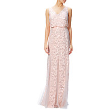 Buy Adrianna Papell Sequin Mesh Blouson Mermaid Dress, Blush Online at johnlewis.com