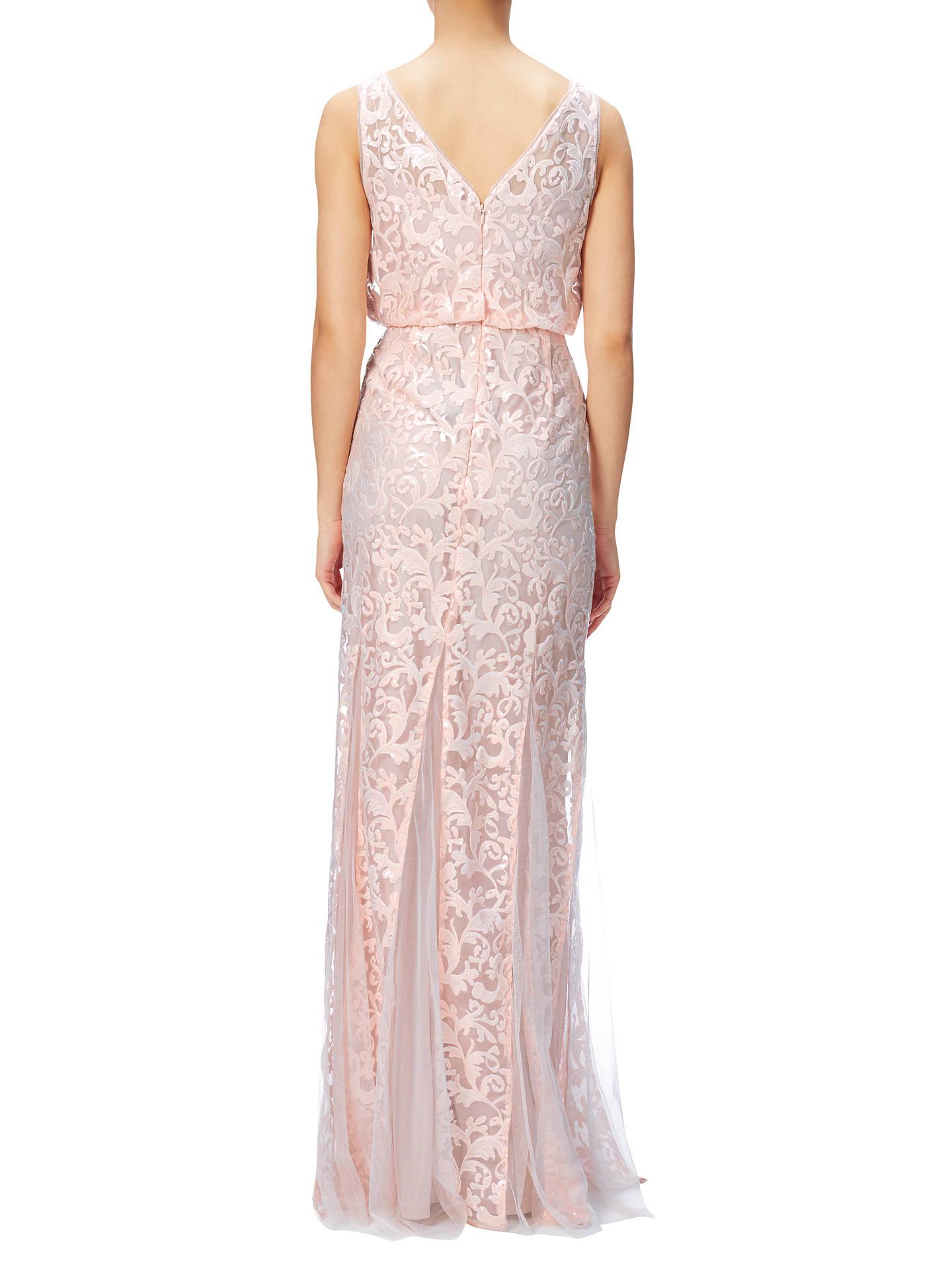 Adrianna Papell Sequin Mesh Blouson Mermaid Dress, Blush ...