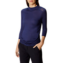 Buy Karen Millen Draped Long Sleeve Top, Navy Online at johnlewis.com