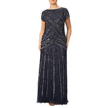 Buy Adrianna Papell Plus Size Geometric Beaded Gown, Navy Online at johnlewis.com