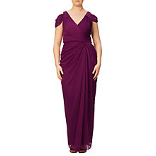 Buy Adrianna Papell Plus Size Beaded Deep V-Neck Ruched Gown, Pomegranate Online at johnlewis.com
