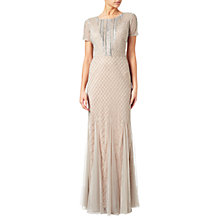 Buy Adrianna Papell Petite Short Sleeve Beaded Gown, Silver/Nude Online at johnlewis.com