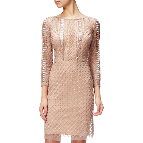 Buy Adrianna Papell Beaded Three-Quarter Sleeve Cocktail Dress, Rose Gold Online at johnlewis.com