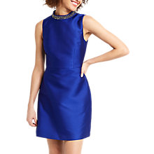 Buy Oasis Embellished Satin Twill Dress, Cobalt Blue Online at johnlewis.com
