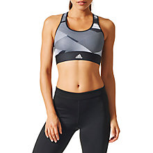 Buy Adidas Techfit Printed Sports Bra, Black/Grey/White Online at johnlewis.com