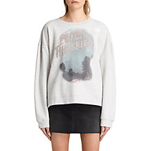 Buy AllSaints Watch The Skies Sweatshirt, Light Grey Marl Online at johnlewis.com