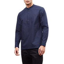 Buy Jaeger Cotton Poplin Collarless Shirt, Ink Online at johnlewis.com