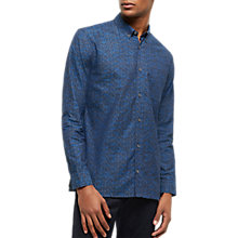 Buy Jaeger Tile Print Regular Fit Shirt, Chambray Online at johnlewis.com