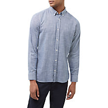 Buy Jaeger Cotton Cross Weave Shirt, Navy Online at johnlewis.com