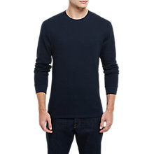 Buy Jaeger Cotton Waffle Long Sleeve T-Shirt, Navy Online at johnlewis.com