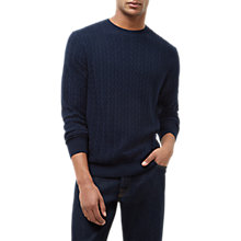 Buy Jaeger Cotton Straw Jacquard Jumper, Navy Online at johnlewis.com