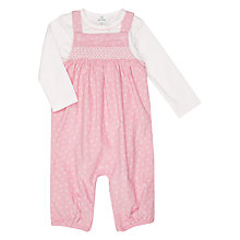 Buy John Lewis Baby Cord Jersey Dungaree and T-Shirt Set, Pink Online at johnlewis.com