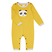 Buy John Lewis Baby Footless Knitted Panda Romper, Yellow Online at johnlewis.com