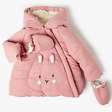 Buy John Lewis Baby Bunny Hooded Coat, Pink Online at johnlewis.com