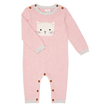 Buy John Lewis Baby Footless Knitted Cat Romper, Pink Online at johnlewis.com