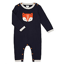 Buy John Lewis Baby Footless Knitted Fox Romper, Blue Online at johnlewis.com