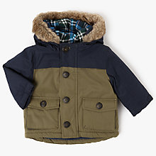 Buy John Lewis Baby Faux Fur Hood Padded Parka Jacket, Khaki Online at johnlewis.com