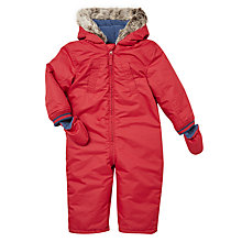 Buy John Lewis Baby Faux Fur Hood Snowsuit, Red Online at johnlewis.com
