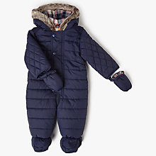 Buy John Lewis Baby Quilted Snowsuit, Navy Online at johnlewis.com