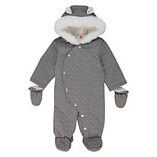 Buy John Lewis Baby Star Quilted Snowsuit, Grey Online at johnlewis.com