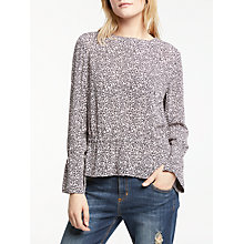Buy AND/OR Phoebe Floral Blouse, Blush/Black Online at johnlewis.com